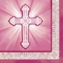 Confirmation Napkins With Cross - Blue or Pink