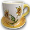 Jumbo Cup and Saucer Planter Sunflower and Lilac Design