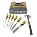 Stanley 6 Piece Chisel Set with Organiser and Graphite Hammer