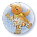 Double Bubble Baby Boy or Baby Girl Teddy in a Balloon