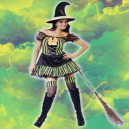 Green and Black Striped Witch fancy dress costume