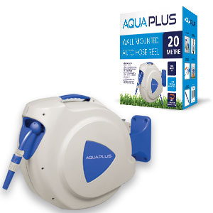 AquaPlus Wall Mounted Automatic Retractable Hose Reel 20m