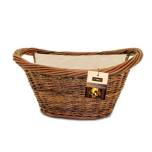 De Vielle Natural Wicker Oval Basket with Jute Liner