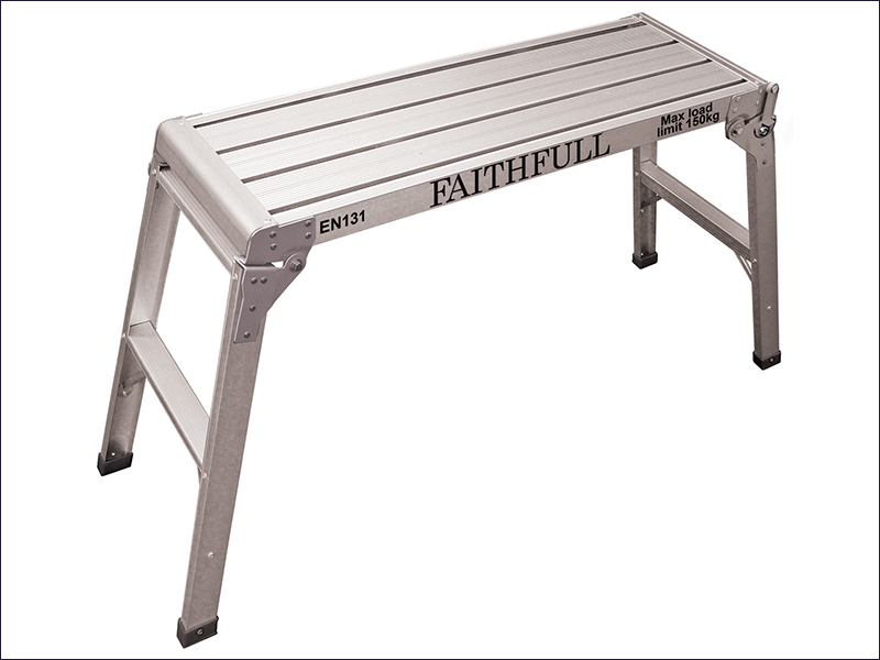 FAISTEPUP3 Faithfull Folding Step-Up Aluminium L100 x H52 x W30cm