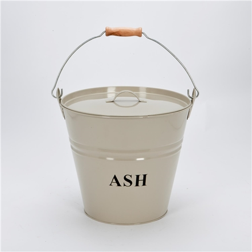 Cream Ash Bucket with Lid 30cm- Cream Coal Bucket