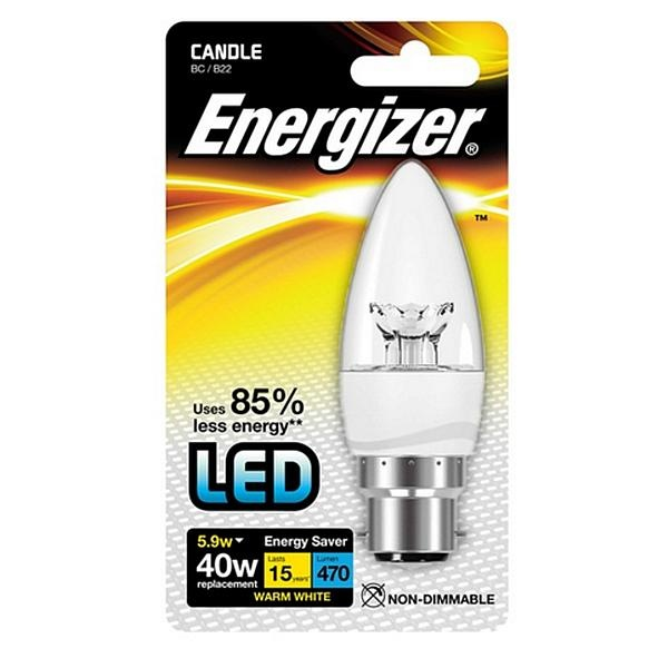 Energizer LED Candle Bulb Clear or Warm White Light Assorted Fittings