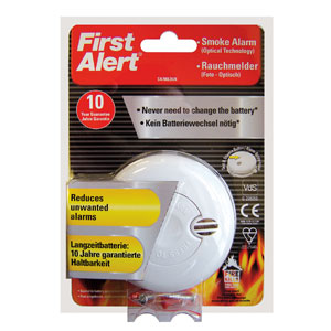 First Alert Photoelectric Smoke Alarm with Long Life Battery