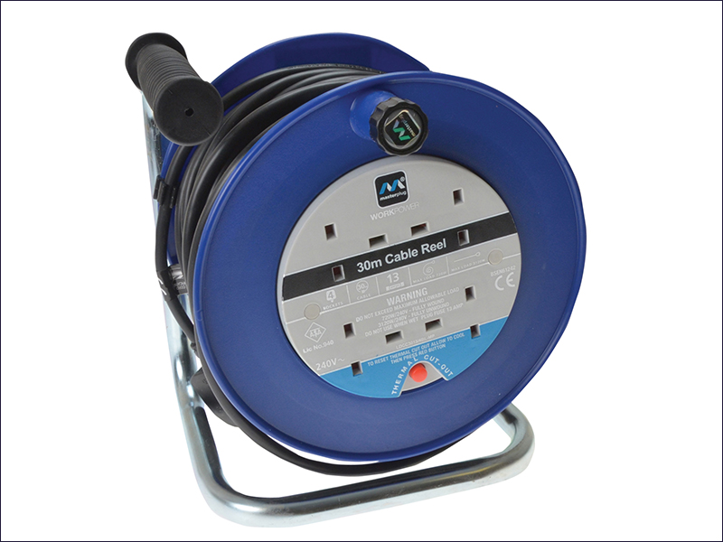 Masterplug Heavy Duty Cable Reel 30 Metre 4 Socket Thermal Cut Out