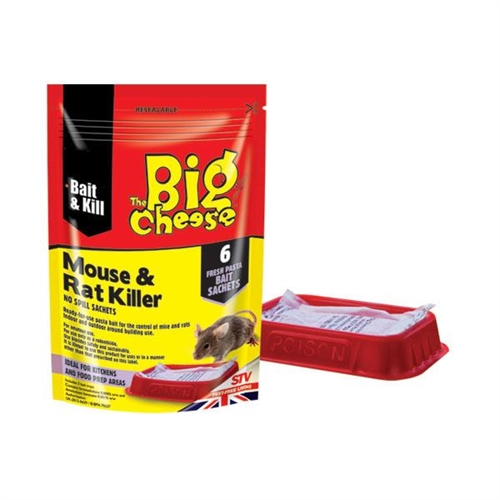 STV123 BIG CHEESE MOUSE and RAT KILLER - SATCHETS BAIT TRAYS