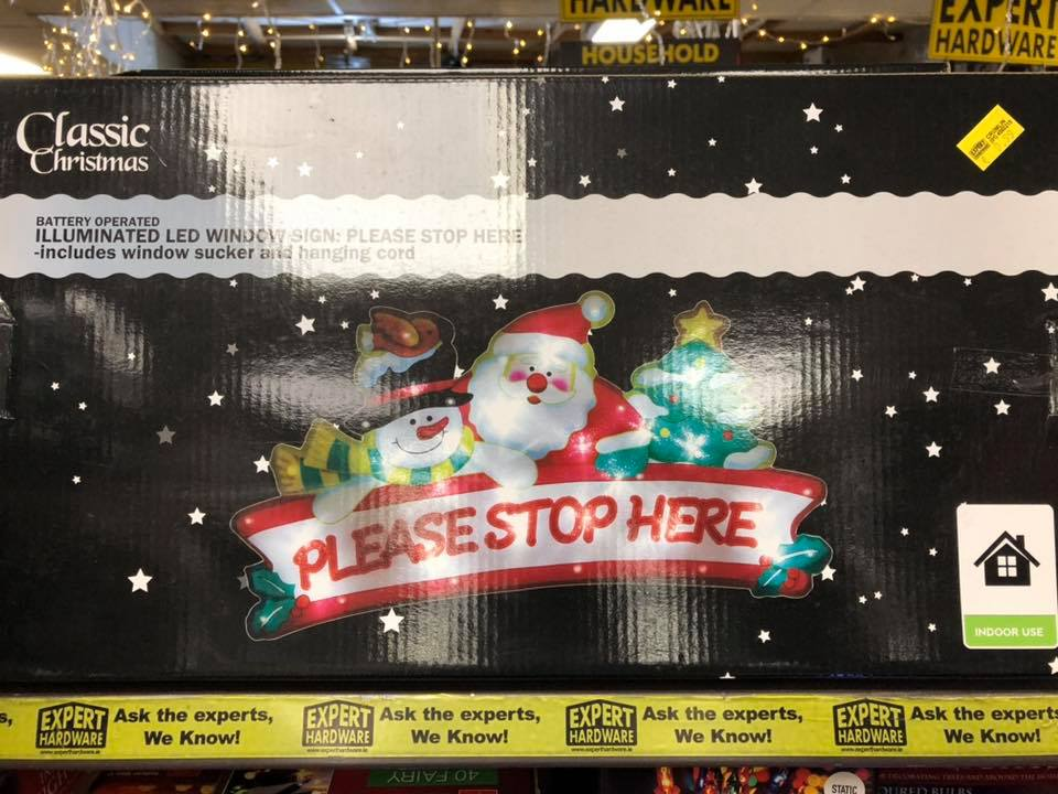 Santa Please Stop Here Window Sign Battery Operated