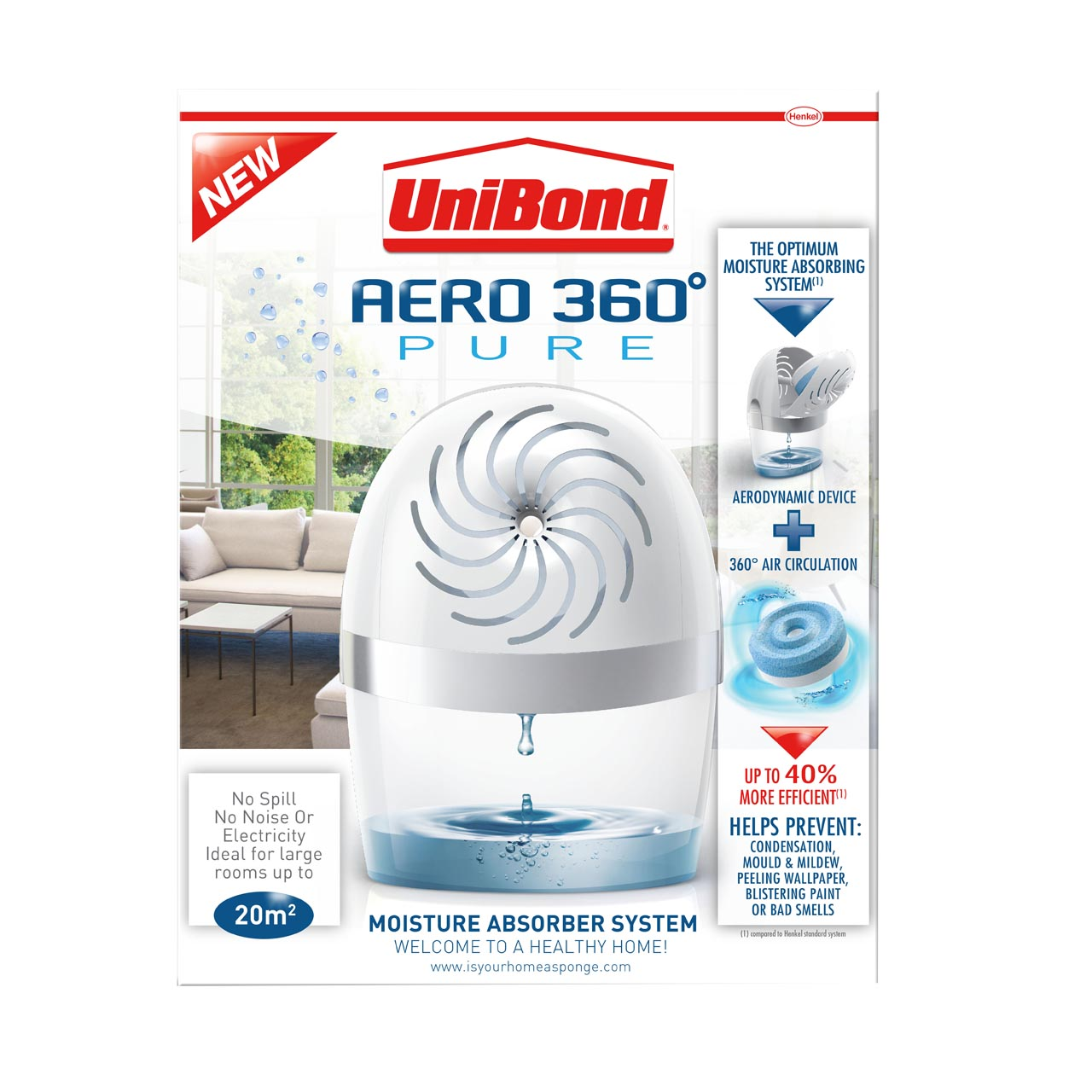 Unibond Aero 360 Pure Humidity Device with extra 2 Refill Tablets
