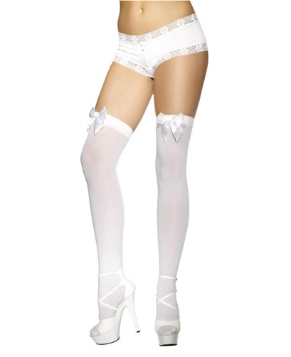 White Hold Up Stockings with Bow