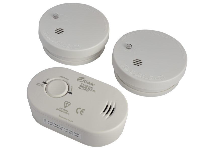 XMS18ALARMS Kidde Triple Pack Smoke X 2 AND Carbon Monoxide X 1
