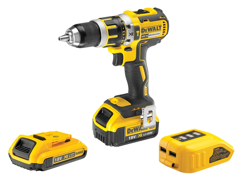 XMS16COMBI DEWALT Brushless XR Combi Drill and USB Charger 18V