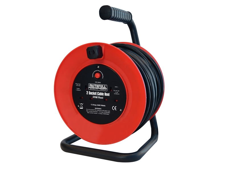 XMS1920CABLE Faithfull 20 Meter Cable Reel 13 Amp