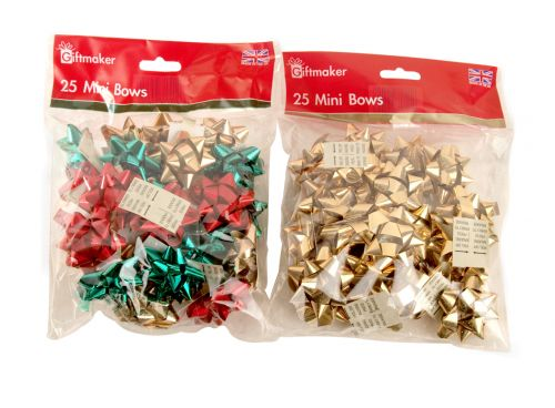 Giftmaker 30 Mini  Gift Wrapping Bows Assorted Colours