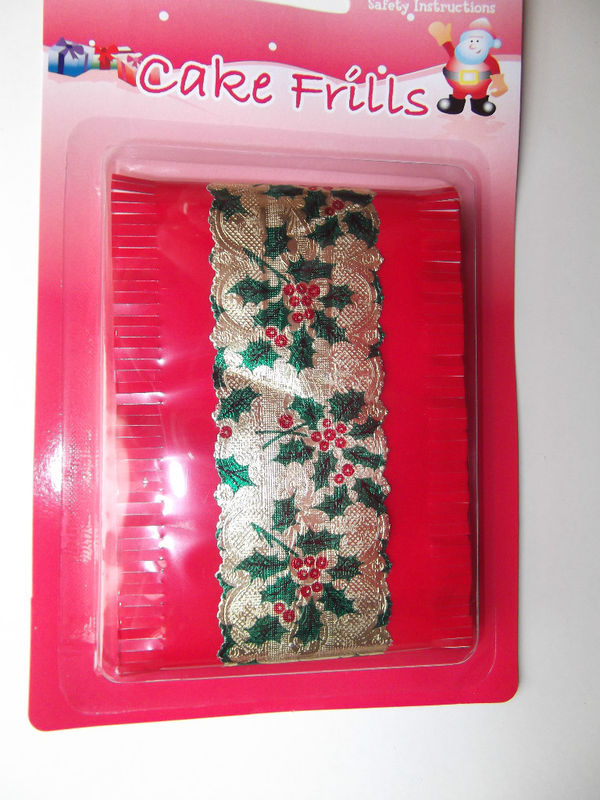 Christmas Cake Frill or Cake Band White or Red