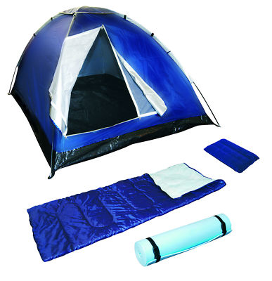Camping Set Includes Tent Sleeping Bag and Foam Mat Pillow