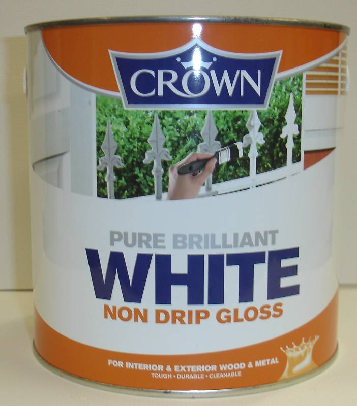 Crown Non Drip Gloss Paint Pure Brilliant White - 1L or 2-and-a-half L
