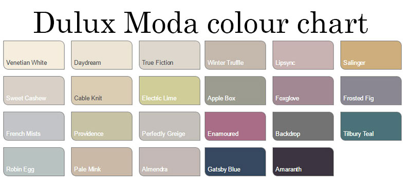 Dulux Moda Premium Washable Matt Paint Assorted Colours