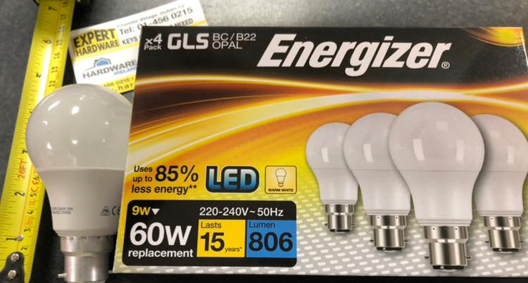 Energizer 9w - 60W BC LED 4 pack Lightbulbs