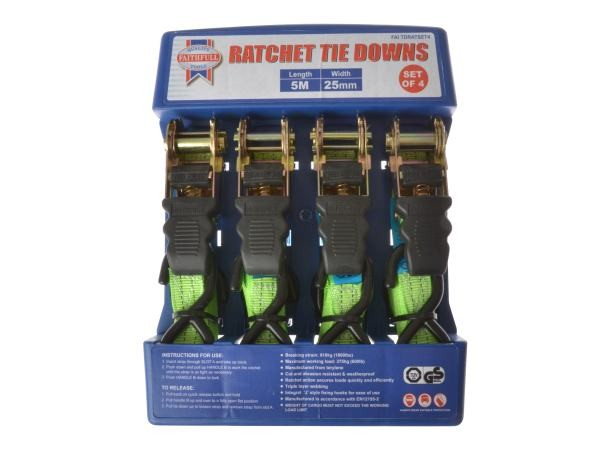 XMS18TIE4 Faithfull 4 Piece ratchet Tie Down Set