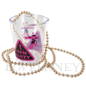 Hens Shot Glasses on a Beaded Necklace 10 Pack