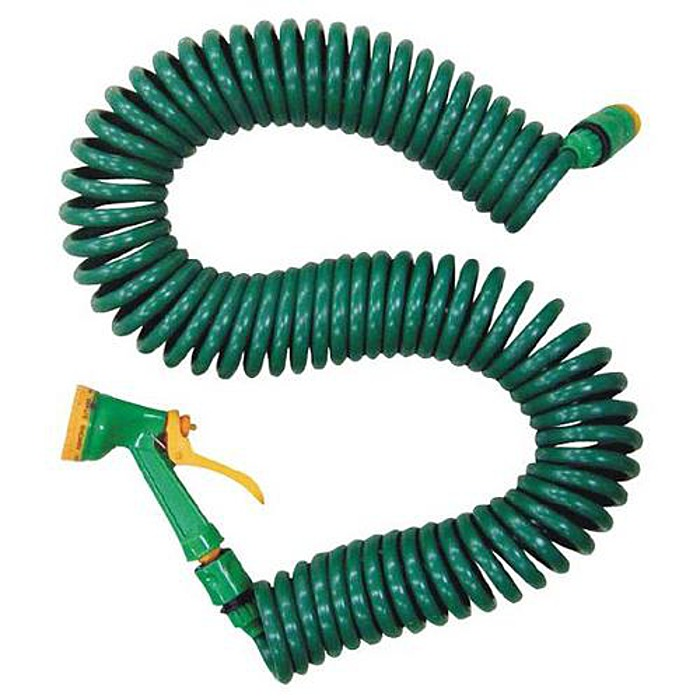 Garden Coil Hose With Sprayer And Tap Connection Assorted Sizes