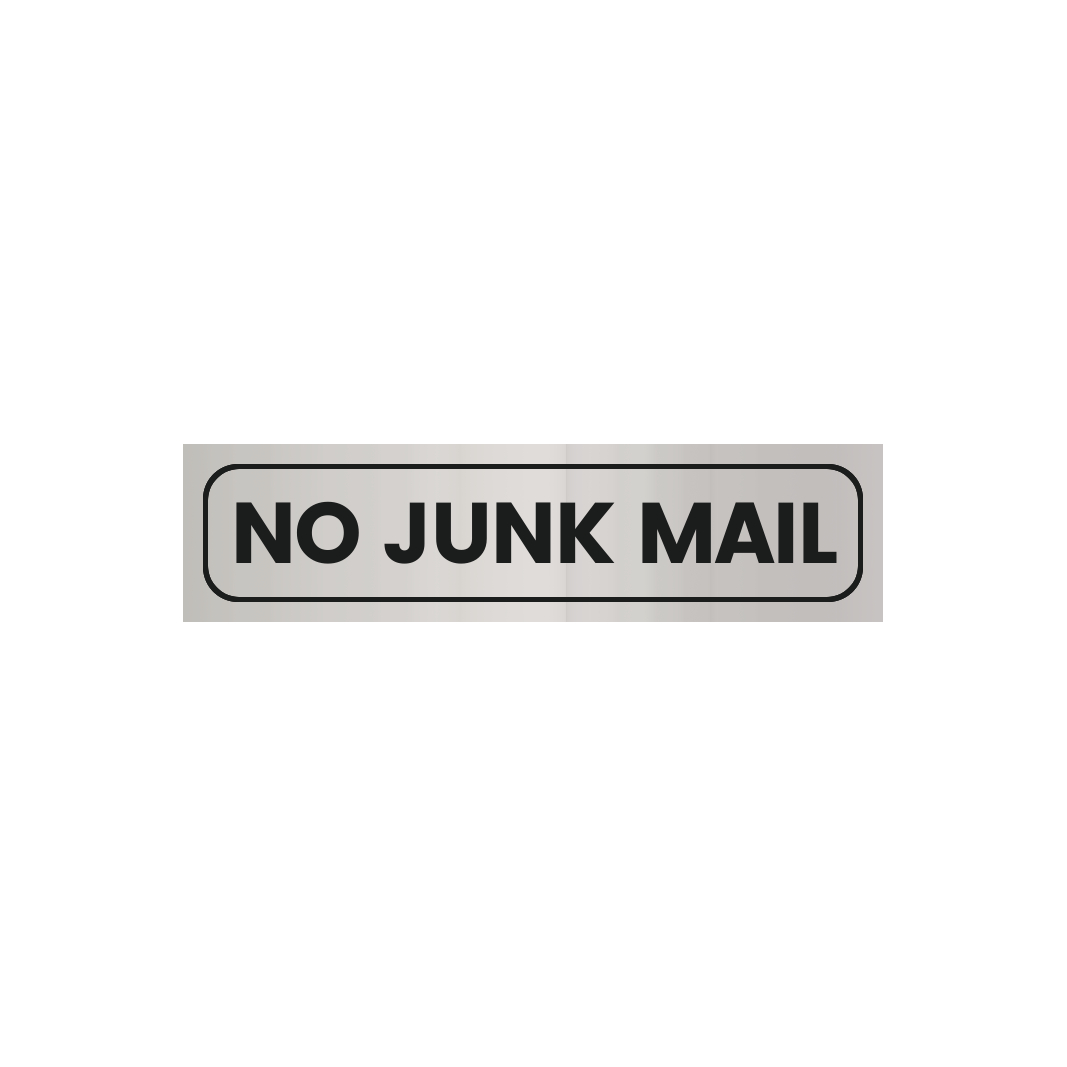 Self-Adhesive No Junk Mail Sign