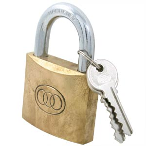 20mm to 60mm Tri-Circle Brass Padlock with Keys