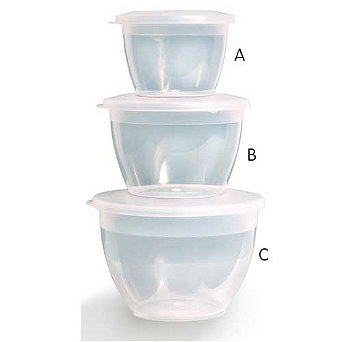 Plastic Pudding Bowl with Lid Assorted Sizes