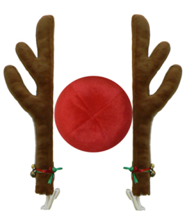 Reindeer Car Antler Decoration - 2 x Antlers and 1 Red Nose