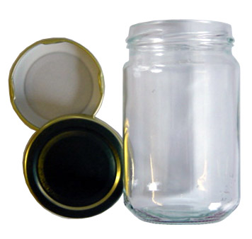 1 LB Glass Jam Jars with Gold Lid - collection only