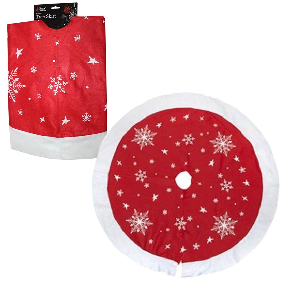 Jingles Christmas Tree Skirt Red with Snowflakes