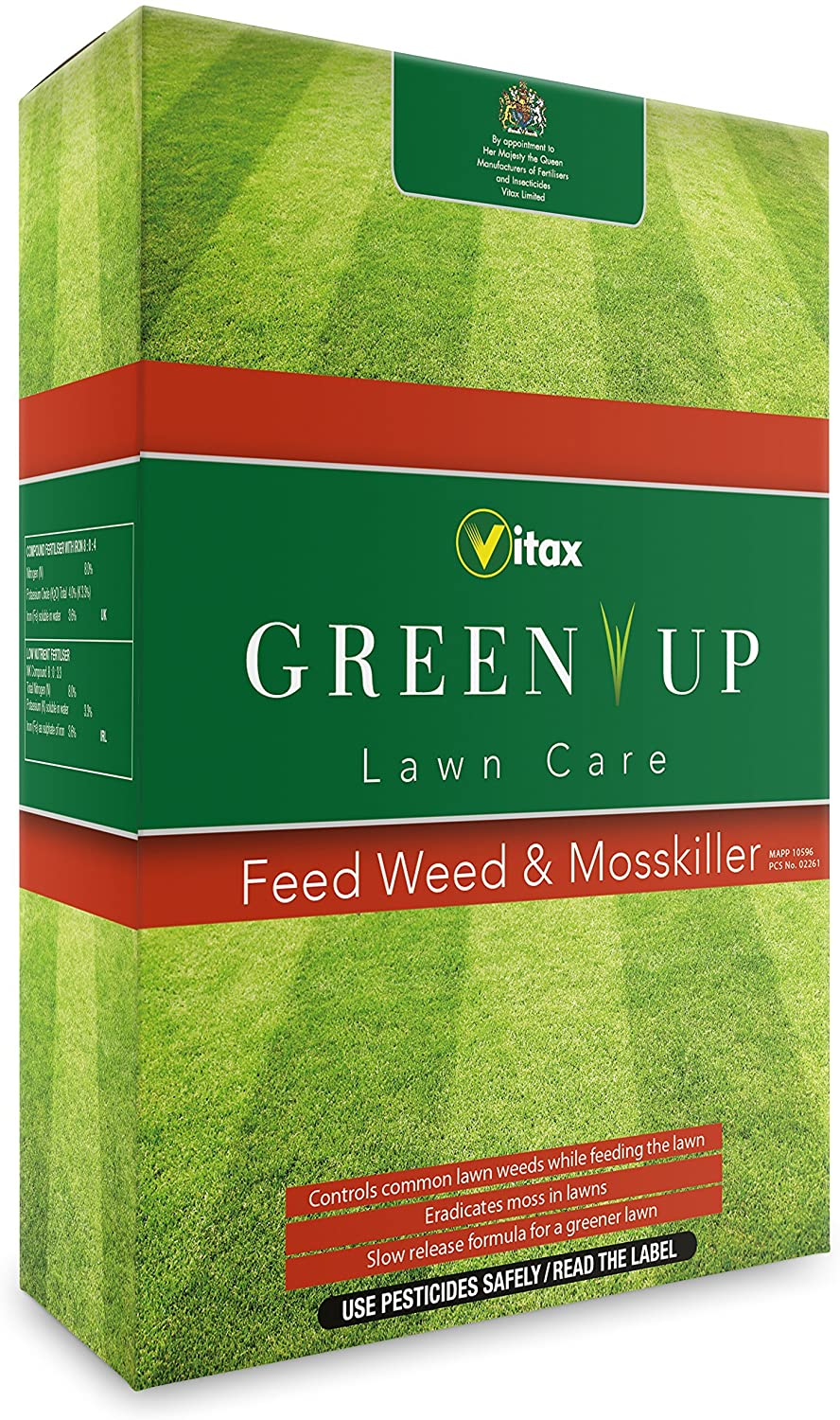 Vitax Lawn Weed Feed and Moss Killer Green Up Granules 3kg