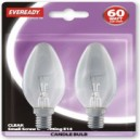 Eveready Candle Bulbs 2 Pack E14 or SES Clear