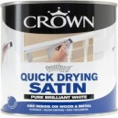 Crown Quick Dry Satin Brilliant White Water Based Paint