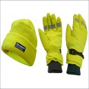 SCAWWHVGLOPK Scan Hi-Visibility Beanie Hat Gloves and Yellow