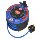 FPPCR10M10A Faithfull 10m Cable Reel 10Amp 4 Socket Fast Rewind