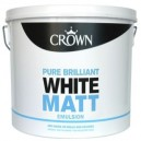 Crown Matt Emulsion Brilliant White - 2-and-a-half L or 5L or 10L